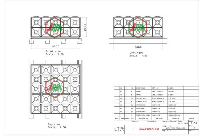 gambar teknis tangki panel fiber