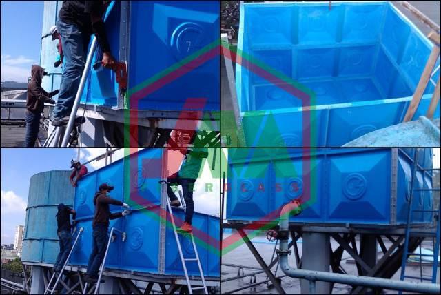 instalasi tangki air fiberglass